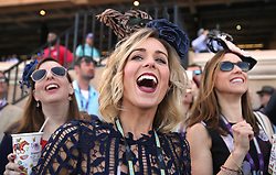 November 3, 2017 - Del Mar, California, U.S. -  VALERIE NETHERTON, center, NATHALIE PHILLIPS, right, and STACIE DUNN,  all from Kentucky, cheer as they watch the first race of the day during the Breeders' Cup at the Del Mar racetrack in Del Mar on Friday. (Credit Image: © Hayne Palmour Iv/San Diego Union-Tribune via ZUMA Wire)