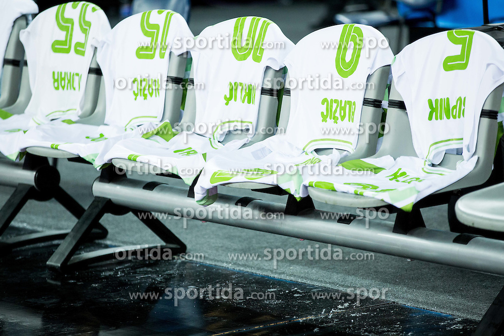 Jerseys of Slovenia during basketball match between Slovenia and Macedonia at Day 6 in Group C of FIBA Europe Eurobasket 2015, on September 10, 2015, in Arena Zagreb, Croatia. Photo by Vid Ponikvar / Sportida