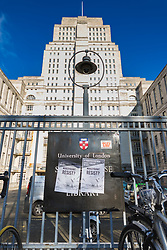 Two posters outside Senate House on the UCL campus ask 'would you not resist?' Students and staff at UCL man picket lines as and estimated 40,000 University and College Union (UCU) lecturers and academics across the UK strike over changes to their pensions. The strike is the first in a planned series of 14 days of walkouts. UCL, London, February 22 2018.