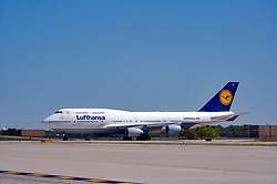 Lufthansa airliner preparing to depart from Houston's Intercontinental Airport