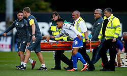Stephen Dawson of Bury is consoled by Nicky Ajose as he is stretchered off with an injury - Mandatory by-line: Matt McNulty/JMP - 10/08/2017 - FOOTBALL - Gigg Lane - Bury, England - Bury v Sunderland - Carabao Cup - First Round
