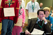 Rider Isgett, watches another bee participant spell a word during the Southeast Ohio Regional Spelling Bee Saturday, March 16, 2013. The Regional Spelling Bee was sponsored by Ohio University's Scripps College of Communication and held in Margaret M. Walter Hall on OU's main campus.