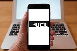 Using iPhone smartphone to display logo of University College London