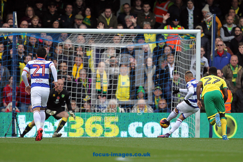 Tjaronn Chery of Queens Park Rangers misses the penalty after Martin Olsson of Norwich handles on the line and is sent off by Referee Scott Duncan during the Sky Bet Championship match at the Loftus Road Stadium, London<br /> Picture by Paul Chesterton/Focus Images Ltd +44 7904 640267<br /> 19/11/2016
