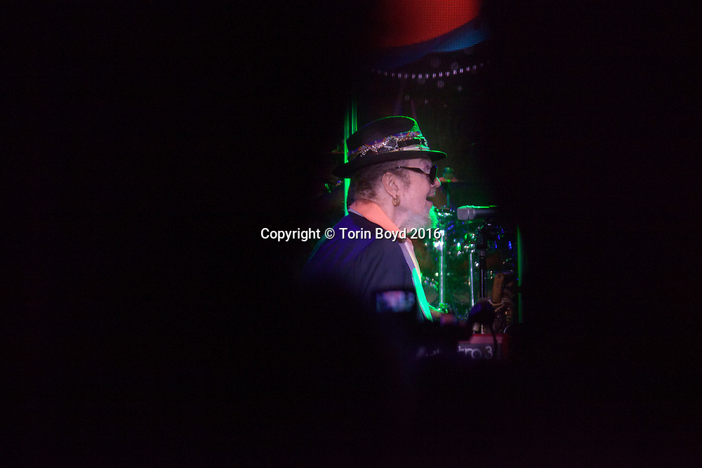 """January 22, 2016 - Anaheim, CA: NAMM Show evening concert by veteran New Orleans musician Dr. John, whose real name is Malcolm """"Mac"""" Rebennack, age 75. This free concert open to the public was held in front of the Anaheim Convention Center, part of their NAMM's """"Legends Concert"""" series. The NAMM Show is an annual trade show organized by the The National Association of Music Merchants (NAMM) and brings together the global music product industry and attracts 100,000 visitors. The largest of its kind, the show features music instruments products and technology brands with every imaginable music-related item including guitars, drums, synthesizers, pianos, band and orchestra instruments, recording equipment, DJ gear, and music technology. It takes place at the Anaheim Convention Center from January 21-24, 2016. Torin Boyd/Polaris."""
