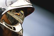 May 23-27, 2018: Monaco Grand Prix. Fernando Alonso (SPA), McLaren Renault, MCL33 reflected in a Monaco marshals helmet