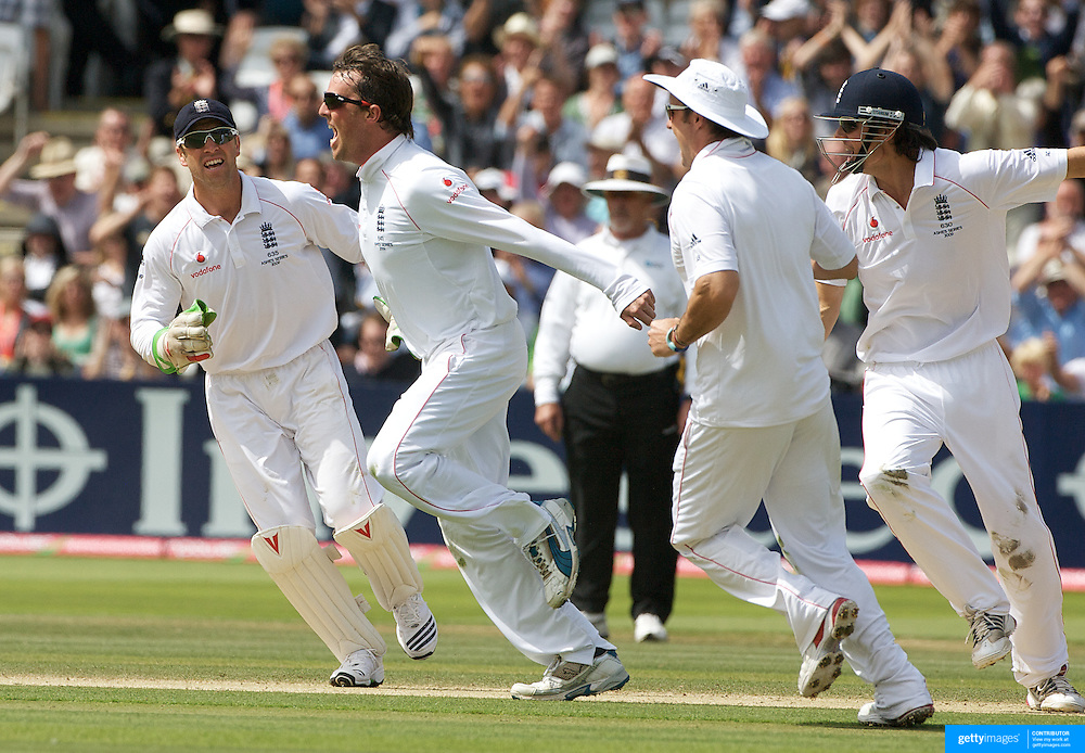 Graeme Swann celebrates the wicket of Michael Hussey. during the England V Australia  Ashes Test series at Lords, London, on Sunday, July 19, 2009. Photo Tim Clayton.