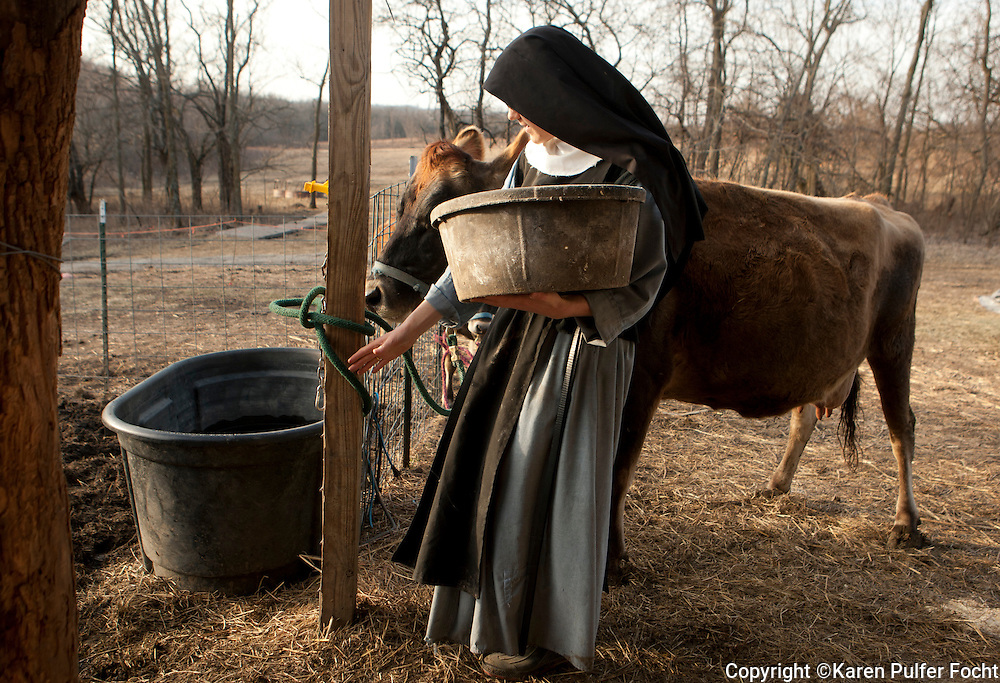 "The sisters do their early morning chores. The Benedictines in Europe have traditionally been cloistered and contemplative. Mother Cecilia says this is about tradition; about handing down a lost dream, ""we are in a sense reaching back through time and conserving that way of life for the future"" she said ""these women really want to be a part of it"" she says.  ""It is 1500 years old, this Benedictine way of life, it has given the church thousands of saints."" They want to be in that number and also aspire to pass on that ideal"
