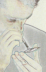 Young man snorting cocaine,