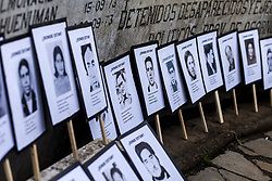 September 11, 2017 - Osorno, Chile - Osorno, Chile. 11 September 2017. Photographs with the faces of disappeared detainees of the military dictatorship..Relatives of the Disappeared, former political prisoners, social organizations and political parties commemorated the 44 years since the beginning of the military dictatorship led by Augusto Pinochet in the Memorial Human Rights in Osorno, Chile. (Credit Image: © Fernando Lavoz/NurPhoto via ZUMA Press)