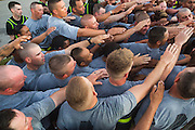 Male and female Drill Sergeant candidates at the US Army Drill Instructors School Fort Jackson during morning exercise September 27, 2013 in Columbia, SC. While 14 percent of the Army is women soldiers there is a shortage of female Drill Sergeants.