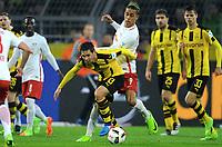 v.l. Raphael Guerreiro, Yussuf Poulsen (Leipzig)<br /> Dortmund, 04.02.2017, Fussball Bundesliga, Borussia Dortmund - RB Leipzig 1:0<br /> <br /> Norway only