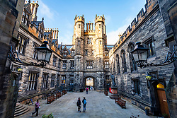 View of the courtyard of New College at the University of Edinburgh, the Faculty of Divinity, on The Mound in Edinburgh Old Town, Scotland, UK