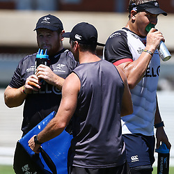Lourens Adriaanse with Etienne Oosthuizen during The Cell C Sharks Pre Season training, session at Growthpoint Kings Park in Durban, South Africa. 17 February 2017(Photo by Steve Haag)<br /> <br /> images for social media must have consent from Steve Haag