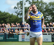 Luke Briscoe of Leeds Rhinos celebrates scoring his try against London Broncos during the Super 8s Qualifiers match at Trailfinders Sports Club, Ealing<br /> Picture by Stephen Gaunt/Focus Images Ltd +447904 833202<br /> 19/08/2018