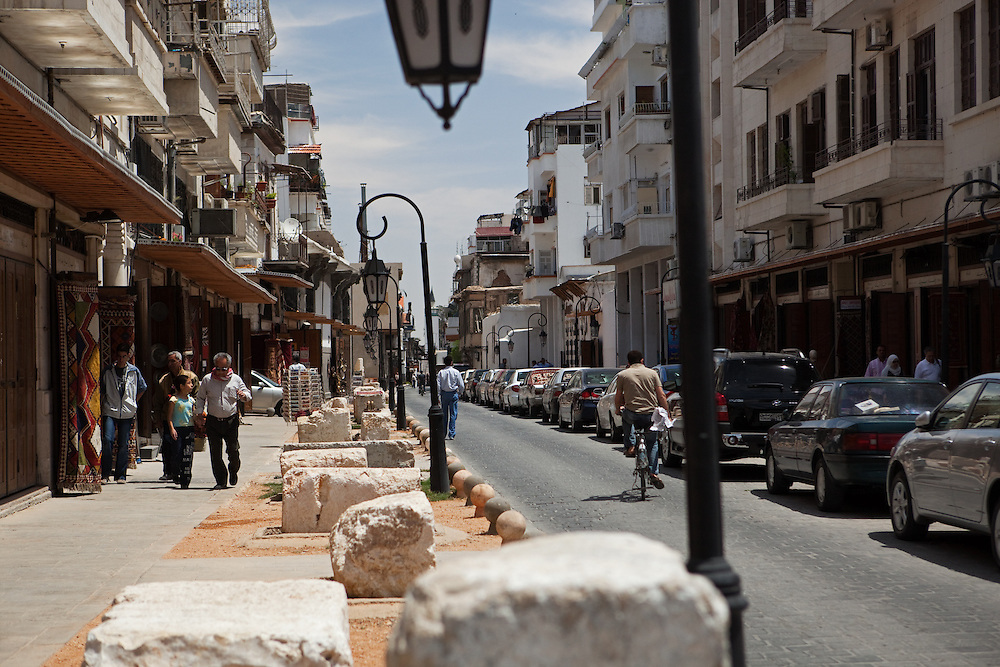 Old Roman columns along Via Recta, or Street Called Straight, Damascus