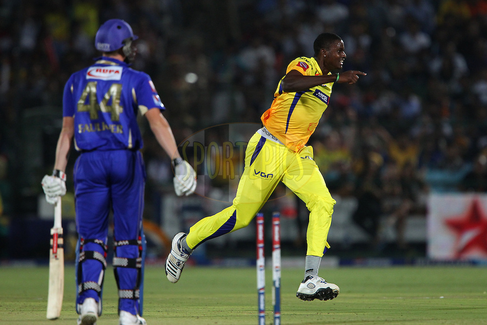Jason Holder celebrates the wicket of James Faulkner during match 61 of the Pepsi Indian Premier League ( IPL) 2013  between The Rajasthan Royals and the Chennai SUperkings held at the Sawai Mansingh Stadium in Jaipur on the 12th May 2013..Photo by Ron Gaunt-IPL-SPORTZPICS ..Use of this image is subject to the terms and conditions as outlined by the BCCI. These terms can be found by following this link:..http://www.sportzpics.co.za/image/I0000SoRagM2cIEc