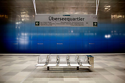 GERMANY HAMBURG 29JUN13 - HVV underground station at Ueberseequartier in Hamburg Hafen-City.<br /> <br /> HafenCity Hamburg is a project of city-planning where the old port warehouses of Hamburg are being replaced with offices, hotels, shops, official buildings, and residential areas. The project is the largest rebuilding project in Europe in scope of landmass (approximately 2,2 km²).<br /> <br /> jre/Photo by Jiri Rezac<br /> <br /> <br /> <br /> © Jiri Rezac 2013