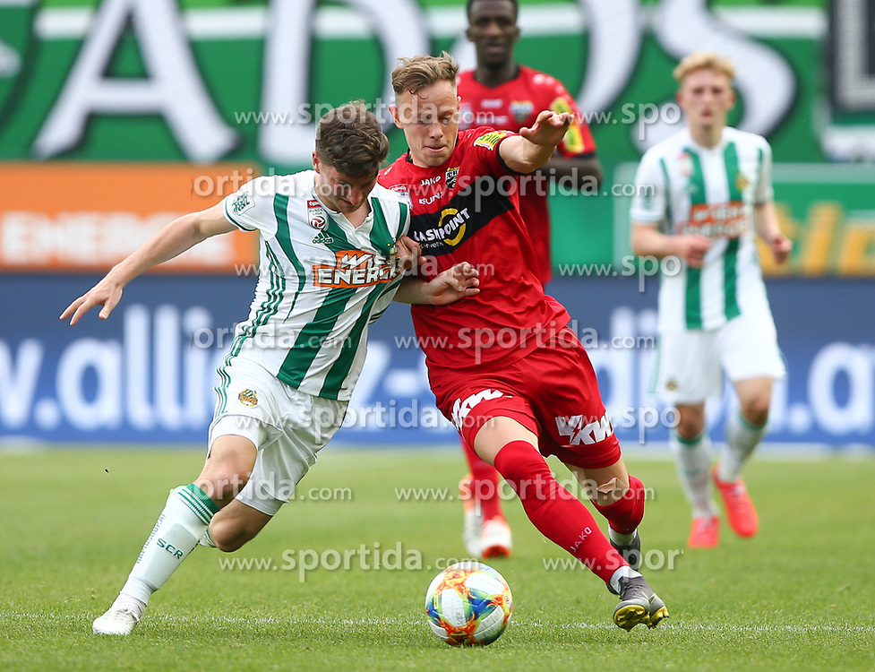 25.05.2019, Allianz Stadion, Wien, AUT, 1. FBL, SK Rapid Wien vs Cashpoint SCR Altach, Qualifikationsgruppe, 32. Spieltag, im Bild v.l. Stephan Auer (SK Rapid Wien) und Marco Meilinger (Cashpoint SCR Altach) // during the tipico Bundesliga qualification group 32nd round match between SK Rapid Wien and Cashpoint SCR Altach at the Allianz Stadion in Wien, Austria on 2019/05/25. EXPA Pictures © 2019, PhotoCredit: EXPA/ Thomas Haumer
