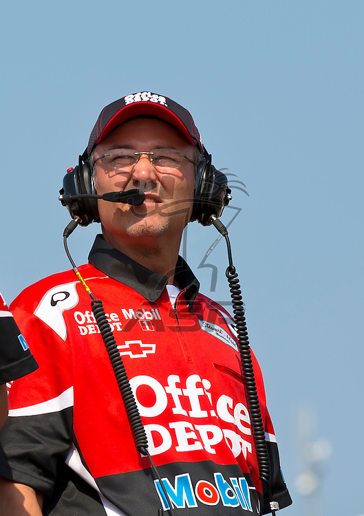 CONCORD, NC - MAY 26, 2012:  Office Depot Crew Chief, Steve Addington, watches a practice session for the Coca-Cola 600 at the Charlotte Motor Speedway in Concord, NC.