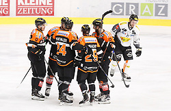 28.12.2016, Merkur Eisarena, Graz, AUT, EBEL, Moser Medical Graz 99ers vs Dornbirner Eishockey Club, 36. Runde, im Bild Daniel Woger (#51, Moser Medical Graz 99ers), Evan Brophey (#47, Moser Medical Graz 99ers), Markus Pirmann (#44, Moser Medical Graz 99ers), Sven Klimbacher (#29, Moser Medical Graz 99ers), Kyle Beach (#19, Moser Medical Graz 99ers) und Kevin Macierzynski (Dornbirn) // during the Erste Bank Icehockey League 36th Round match between Moser Medical Graz 99ers and Dornbirner Eishockey Club at the Merkur Ice Arena, Graz, Austria on 2016/12/28, EXPA Pictures © 2016, PhotoCredit: EXPA/ Erwin Scheriau