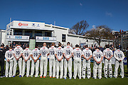 A minutes silence is observed by the Sussex team who wear the number 19 shirt as a tribute to the late Matt Hobden during the Specsavers County Champ Div 2 match between Sussex County Cricket Club and Essex County Cricket Club at the 1st Central County Ground, Hove, United Kingdom on 17 April 2016. Photo by Bennett Dean.