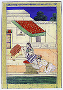 Album of Ragamala. A prince kneels at the feet of his mistress Khandita Nayiki (The One Wronged) asking pardon for his absence .   19th century Indian miniature, Rajasthan School.