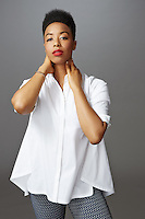 Portrait of Grammy nominated artist and songwriter Carolyn Malachi by Michel Leroy for fashion brand Lafayette 148.