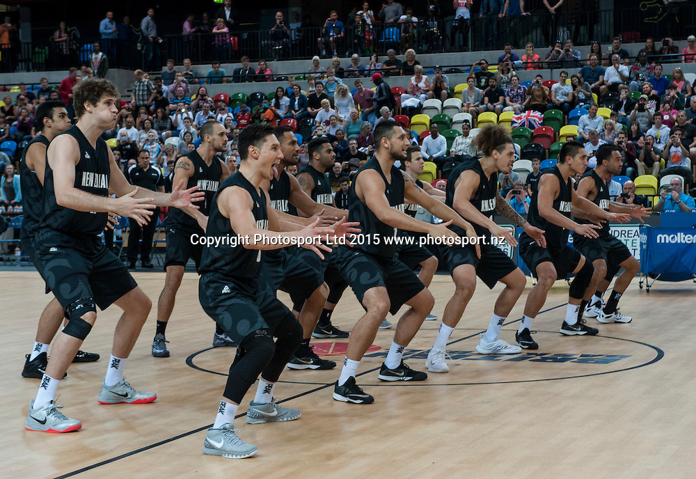 25.07.2015. London England. Basketball test match. Great Britain versus New Zealand.  The Tall Blacks Haka.
