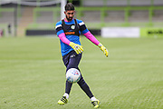 Forest Green Rovers goalkeeper Sam Russell(23) warming up during the Pre-Season Friendly match between Forest Green Rovers and Bristol Rovers at the New Lawn, Forest Green, United Kingdom on 22 July 2017. Photo by Shane Healey.