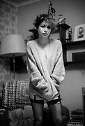Kelly in a Cardigan and Fishnets, 16 Hawthorne Road, High Wycombe, UK, 1980s.