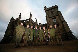 UK ENGLAND GRANTHAM 15DEC11 - Group photo of the guns at  Belvoir Castle after the Pheasant shoot on the Estate in Leicestershire, England...The shooting of game birds for sport involves the killing of millions of birds every year - over 35 million pheasants and 6.5 million partridges are produced to be used a live targets in the UK each year.....jre/Photo by Jiri Rezac..© Jiri Rezac 2011