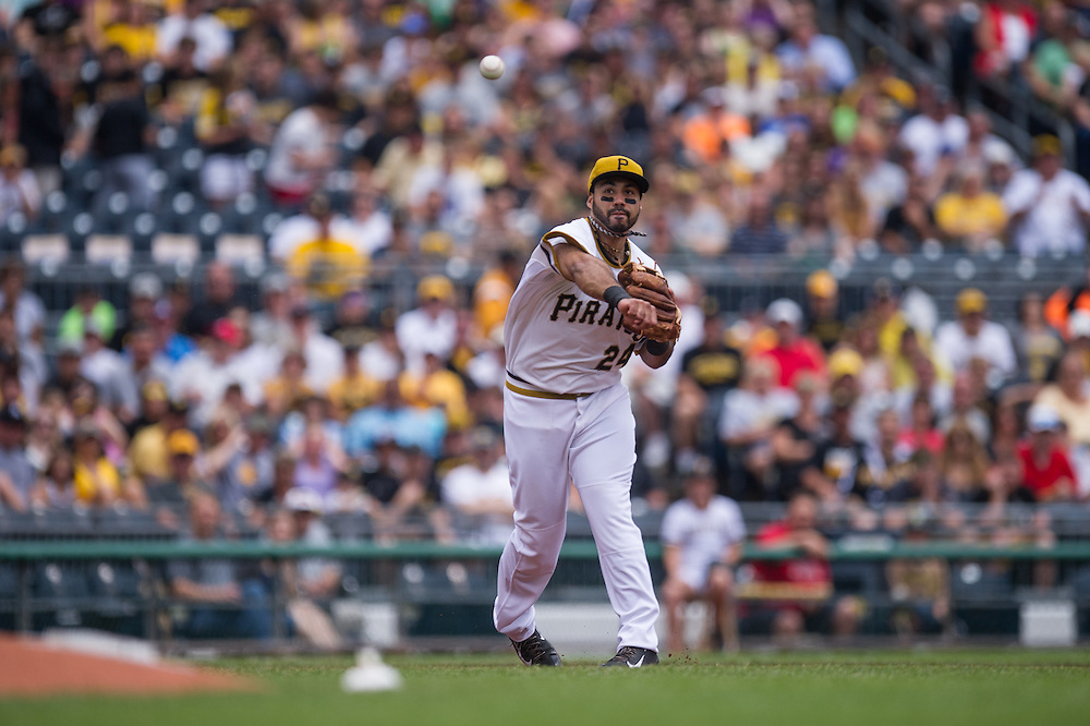 PITTSBURGH, PA - JUNE 08: Pedro Alvarez #24 of the Pittsburgh Pirates defends his position during the game against the Milwaukee Brewers at PNC Park on June 8, 2014 in Pittsburgh, Pennsylvania. (Photo by Rob Tringali) *** Local Caption *** Pedro Alvarez
