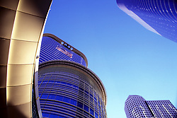 Stock photo of 1500 Louisiana Building with circular skywalk in downtown Houston,Texas