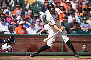 San Francisco Giants right fielder Hunter Pence (8) makes contact with a pitch against the San Diego Padres at AT&T Park in San Francisco, Calif., on September 14, 2016. (Stan Olszewski/Special to S.F. Examiner)
