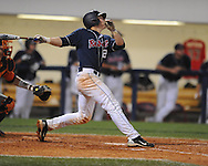 Mississippi's Miles Hamblin bats vs. Auburn during a college baseball in Oxford, Miss. on Friday, May 21, 2010. (AP Photo/Oxford Eagle, Bruce Newman)