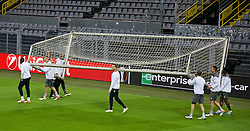 DORTMUND, GERMANY - Wednesday, April 6, 2016: Liverpool's captain Jordan Henderson and his team-mates move a goal during a training session at Westfalenstadion ahead of the UEFA Europa League Quarter-Final 1st Leg match against Borussia Dortmund. (Pic by David Rawcliffe/Propaganda)