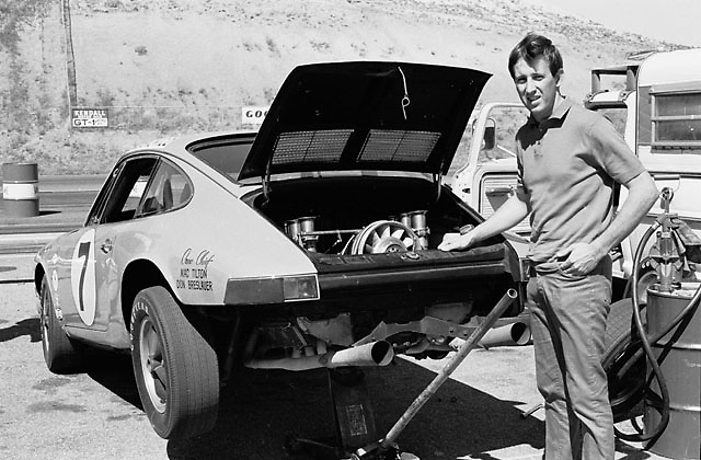 """Tony """"A-to-Z"""" Adamowicz, 1968 U2 Trans-Am champion, with his Porsche at Continental Divide Raceway, Colorado"""