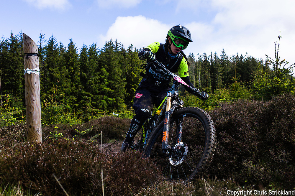 Glentress, Peebles, Scotland, UK. 31st May 2015. The Enduro World Series Round 3 taking place on the iconic 7Stanes trails during Tweedlove Festival. Mountain bikers come up against eight stages across two days, with an intense 2,695 metres of climbing over 93km. As well as the physicality of the liaisons, the stages themselves are technical, catching many off guard.