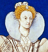 Queen Elizabeth I c.1590-1592.   Preparatory sketch by Isaac Oliver.