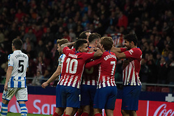 October 27, 2018 - Madrid, Madrid, Spain - Atletico de Madrid celebrates his second goal..during the match between Atletico de Madrid vs Real Sociedad. Atletico de Madrid won by 2 to 0 over Real Sociedad whit goals of Godin and Filipe Luis. (Credit Image: © Jorge Gonzalez/Pacific Press via ZUMA Wire)