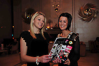 Colleen Barrett, Dublin footballer  and  Therese McNally Monaghan Footballer at the launch of the Ladies Gaelic Football Calendar at the G Hotel Galway. The calendar retails at EUR5 and all proceeds from the calendar will go directly to Breast Cancer Ireland.Photo:Andrew Downes. Photo issued with compliments, no reproduction fee.