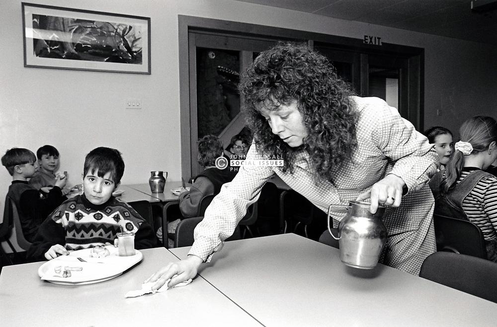 Dinnertime, primary school Nottingham UK 1995