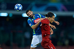NAPLES, ITALY - Wednesday, October 3, 2018: Napoli's Raúl Albiol (left) and Liverpool's Virgil van Dijk during the UEFA Champions League Group C match between S.S.C. Napoli and Liverpool FC at Stadio San Paolo. (Pic by David Rawcliffe/Propaganda)