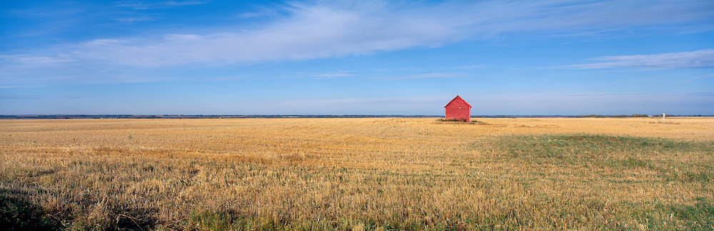 Canada, Saskatchewan, Tiny, Red grain storage shed in freshly harvested wheat field on autumn afternoon