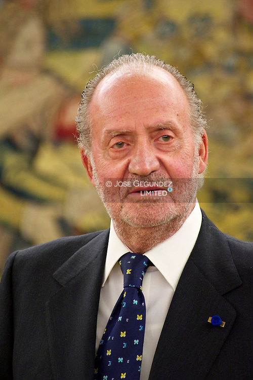 Spanish King, Juan Carlos attends the Meeting with the President of the Republic of The philippines, Mrs., Gloria Macapagal-Arroyo, during her visit to Spain at the Palacio de La Zarzuela. Madrid.
