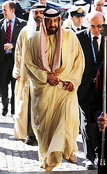 The President of the United Arab Emirates, Sheikh Khalifa bin Zayed Al Nahyan  arrives at Westminster Abbey in London, on the second day of his state visit to the UK Wednesday 1st May 2013.  Photo by: Stephen Lock / i-Images
