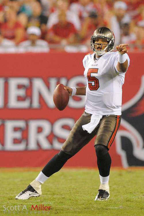 Tampa Bay Buccaneers quarterback Josh Freeman (5) during  the Bucs game against the Miami Dolphins at Raymond James Stadium on Aug. 27, 2011 in Tampa, Fla...©2011 Scott A. Miller