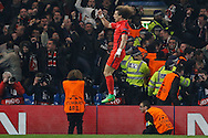 David Luiz of Paris Saint-Germain celebrates scoring his team's first goal to make it 1-1 during the UEFA Champions League match at Stamford Bridge, London<br /> Picture by David Horn/Focus Images Ltd +44 7545 970036<br /> 11/03/2015