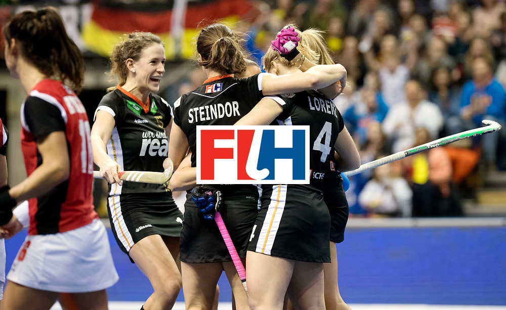 BERLIN - Indoor Hockey World Cup<br /> Quarterfinal 3: Germany - Poland<br /> foto: Germany celebrate.<br /> WORLDSPORTPICS COPYRIGHT FRANK UIJLENBROEK